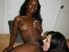 Straight babe in first black lesbian sex