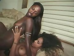 Adorable black sistas makes sweaty sex